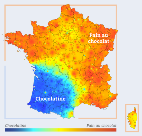 Cartographie Chocolatine Pain au Chocolat (France)